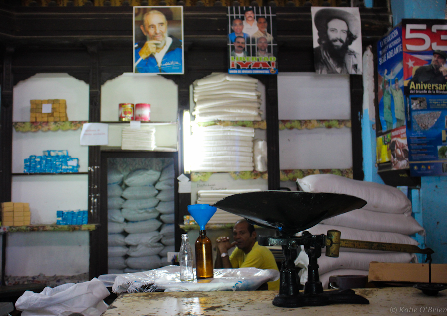 Inside a local rationing shop where Cubans can collect their monthly goods distributed by the government.